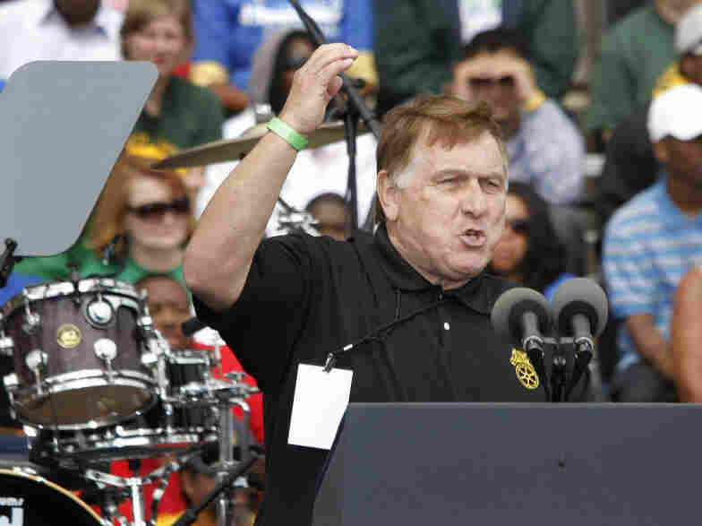 Teamsters Union President James Hoffa fired up the crowd Monday in Detroit.