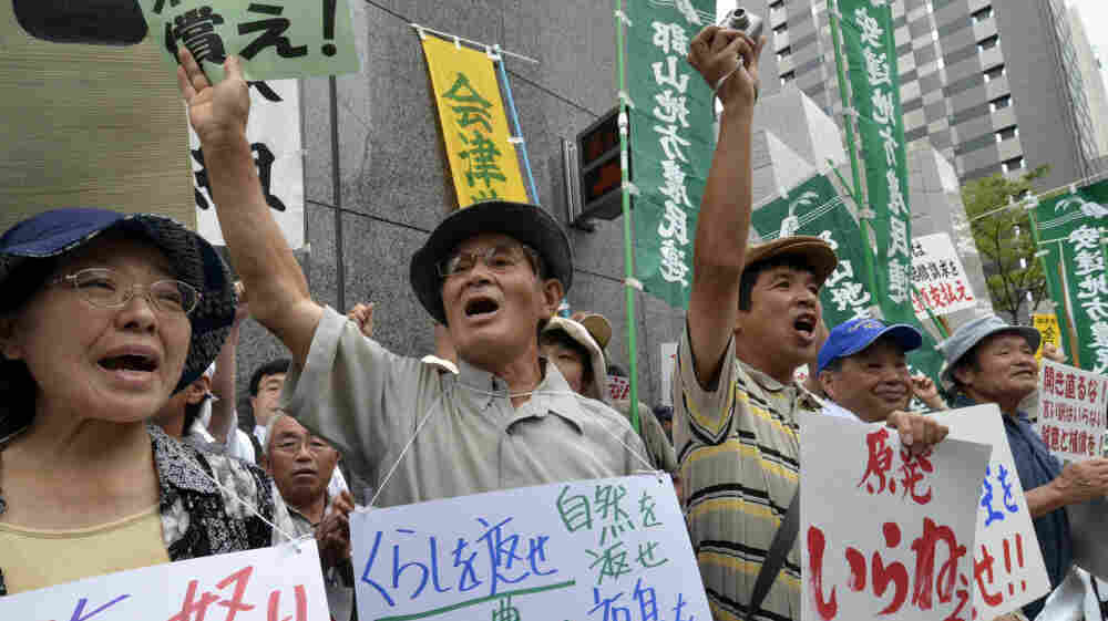 Farmers whose crops were ruined by a nuclear accident protest Aug. 3 at the Tokyo Electric Power Co. Many Japanese are calling for the country to lessen its dependence on nuclear power following the accident six months ago.