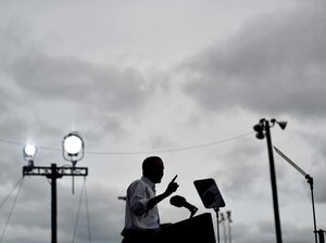 President Barack Obama speaks during Labor Day  celebrations on Sept. 5, 2011 outside GM's world headquarters in  Detroit. Obama was in Detroit to address the annual Labor Day event  sponsored by the Metro Detroit Central Labor Council.