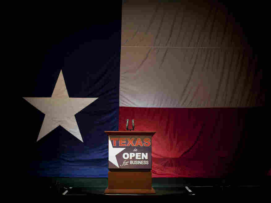 The stage where Gov. Rick Perry gathered with supporters on election night in 2010.