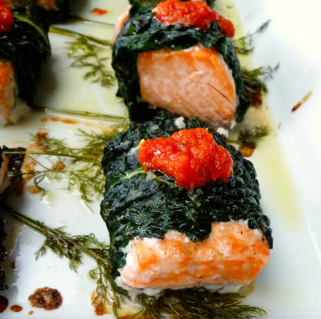 Sriricha-Baked Salmon And Kale Wraps With Roasted Red Pepper Sauce