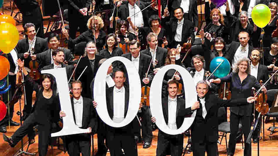 The San Francisco Symphony  launches its centennial season with a concert and webcast tonight. Music director Michael Tilson Thomas (front, right) conducts.