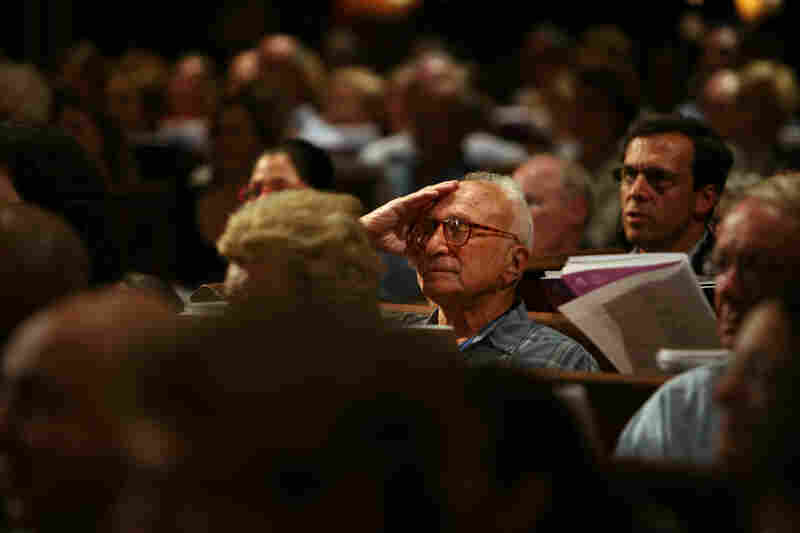 An audience member at Trinity Church in New York City.