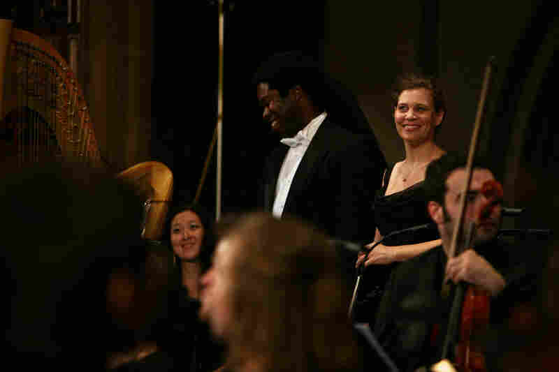 "Baritone Dashon Burton and soprano Jolle Greenleaf react to the audience's applause during ""Remember to Love: Let Us Love One Another With A Sincere Heart."""