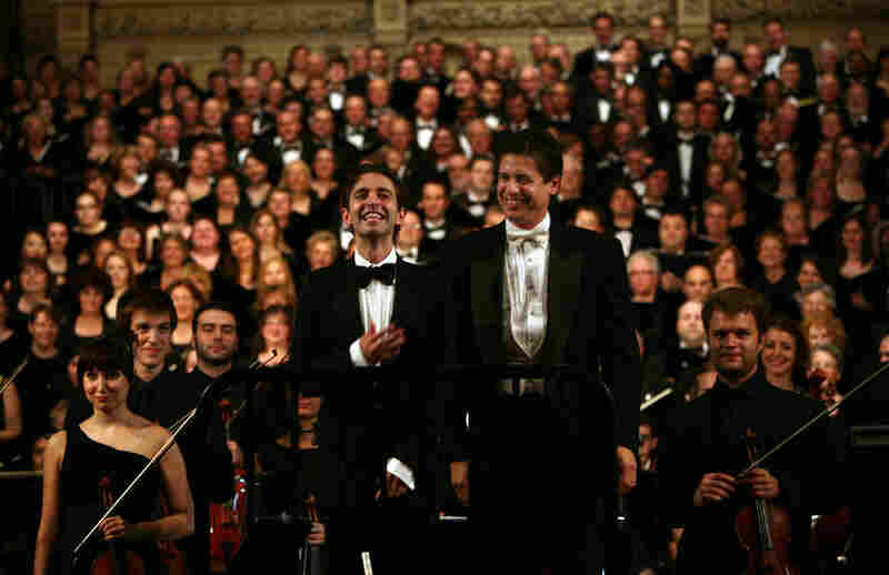 "Countertenor Anthony Roth Costanzo, left, with conductor Francisco J. Nunez, right, during ""Remember to Love: Let Us Love One Another With A Sincere Heart."""