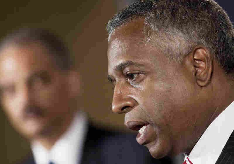 B. Todd Jones, the top federal prosecutor in Minnesota, speaks during a press conference with Attorney General Eric Holder last year. Jones has been tapped as acting chief of the troubled Bureau of Alcohol, Tobacco, Firearms and Explosives.