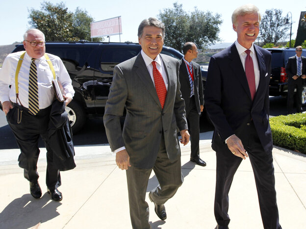 Texas Gov. Rick Perry, arriving at the Reagan Library, was met by Frederick J. Ryan, Jr., chairman of the Reagan foundation.