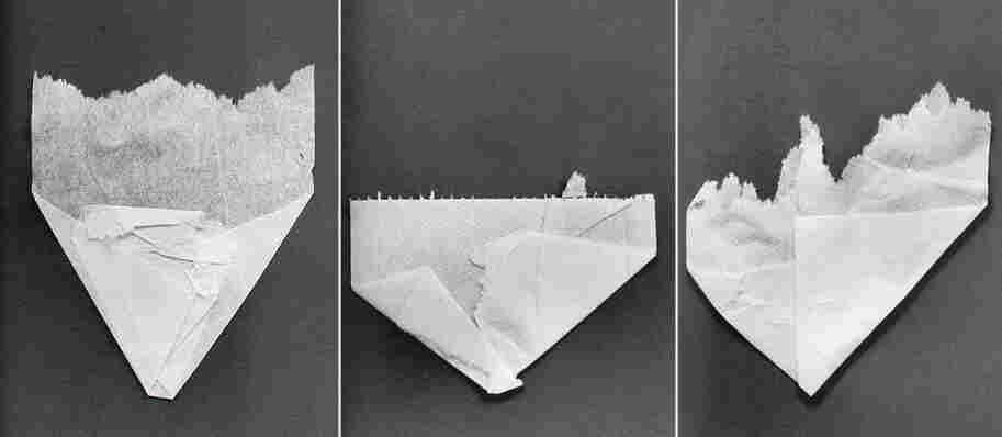 Folded toilet paper.