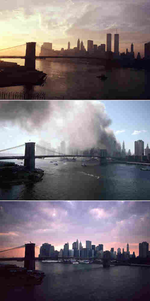 View of lower Manhattan from the Manhattan bridge in 1979 and again, twice, in Sept. 2001, before and after the twin towers fell.