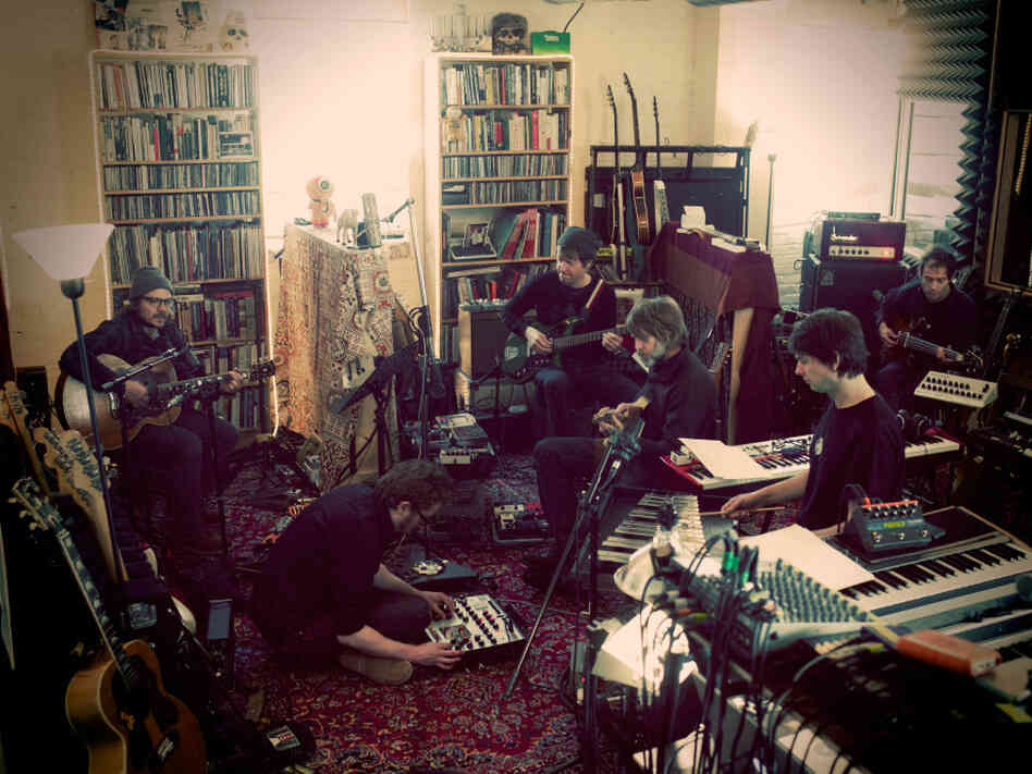 Wilco at the band's loft studio:  Jeff Tweedy (from left), Mikael Jorgensen, Nels Cline, Patrick Sansone, Glenn Kotche and John Stirrat.