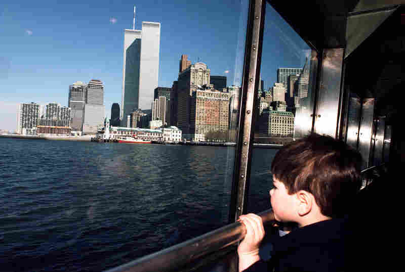 Charlie looking out the window of the Statue of Liberty Ferry, February 1985