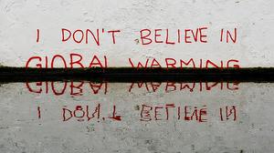 Graffiti by the street artist Banksy.
