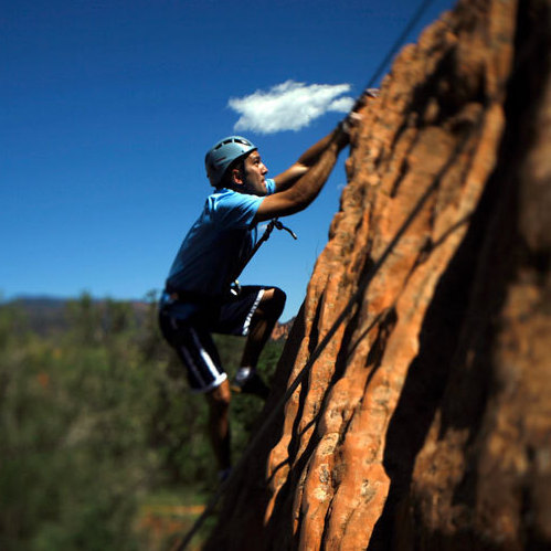 Iraq War veteran Tyler Daly goes rock climbing in Colorado.