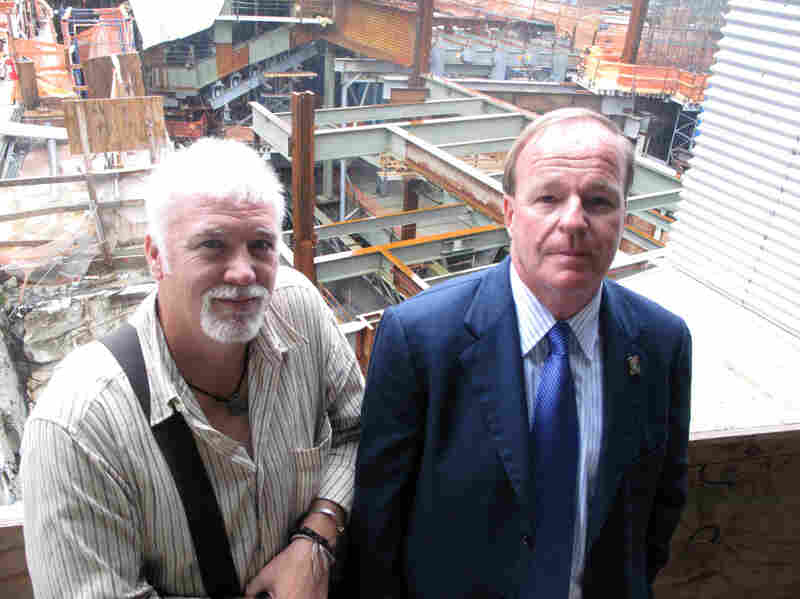 Retired Port Authority Police officers Brian Patrick Tierney (left) and Kevin Devlin visited the World Trade Center site this week. Both men say it's been a struggle to adjust to normal life after losing friends and searching for remains at Ground Zero.