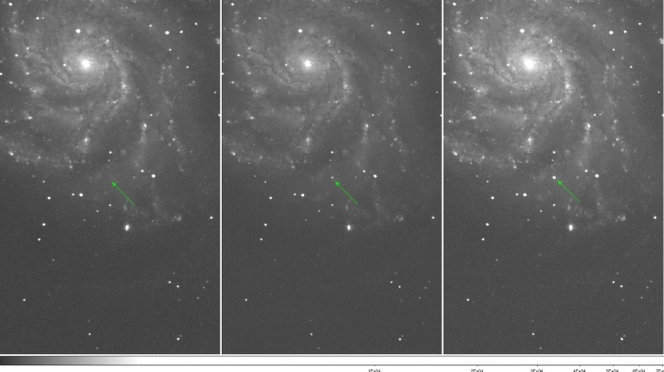 <p>These images show Type Ia supernova PTF 11kly, the youngest ever detected—over the course of three nights in August.</p>
