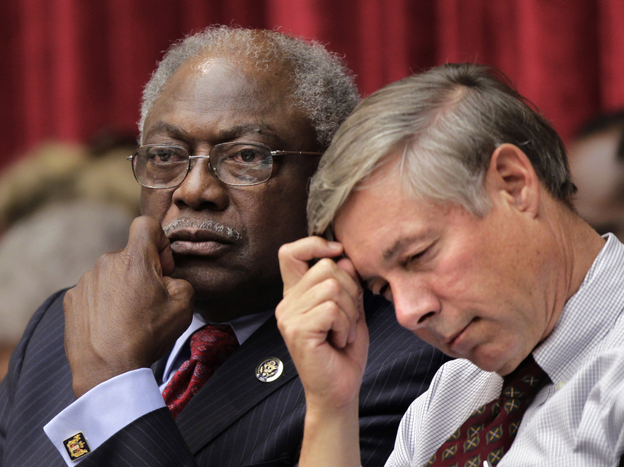 Reps. James Clyburn (D-SC, left) and Fred Upton (R-MI) attend the first organizational meeting of the Joint Select Committee on Deficit Reduction, the so-called supercommittee, Thursday on Capitol Hill.
