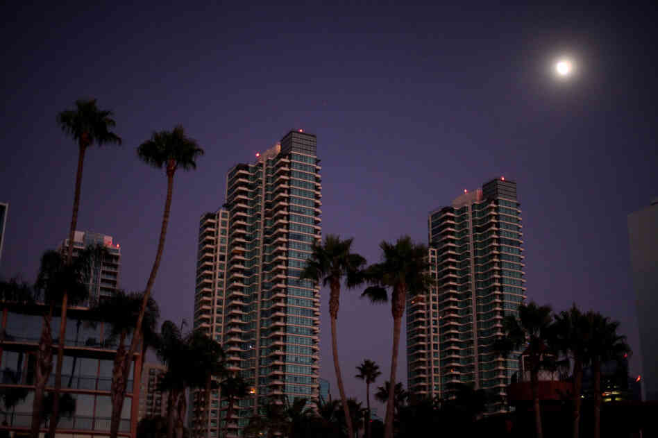 Much of downtown San Diego sits dark Thursday after a blackout struck Southern California and parts of Arizona and Mexico, home to about 6 million people.