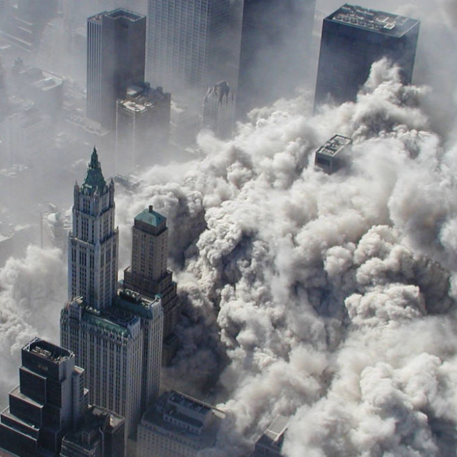 The North Tower  of the World Trade Center collapses on Sept. 11, 2001