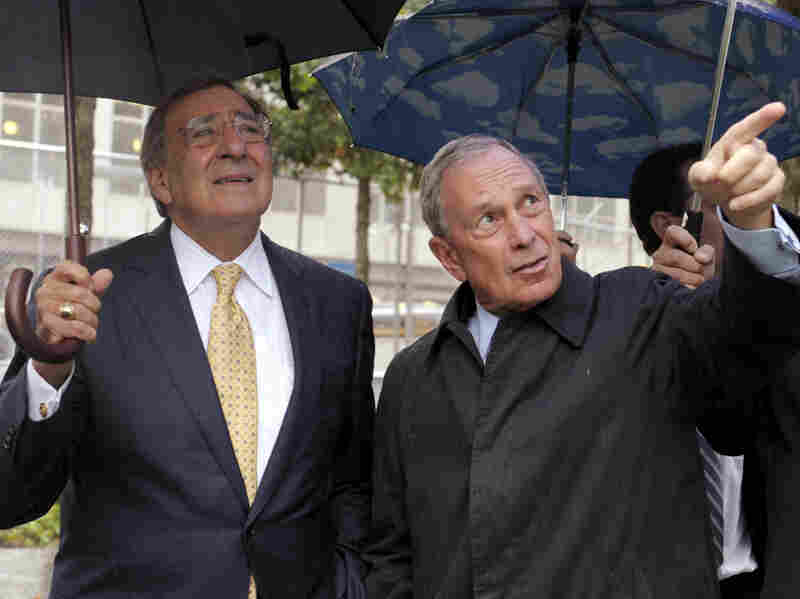 New York City Mayor Michael Bloomberg (right) shows Panetta the World Trade Center Memorial.