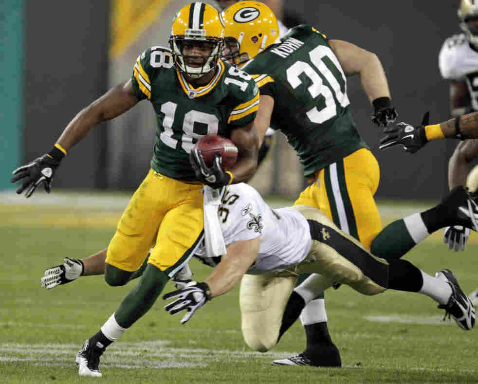 He did go all the way: The Green Bay Packers' Randall Cobb (18) on his 108-yard touchdown run.