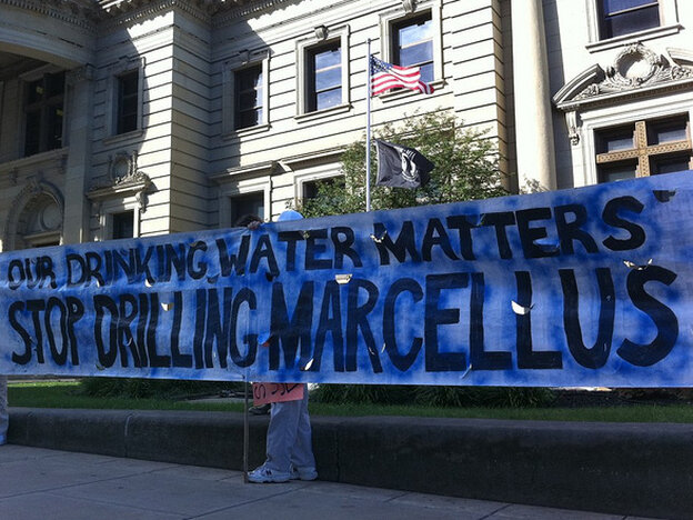 People in Pennsylvania protest fracking in the Marcellus Shale.