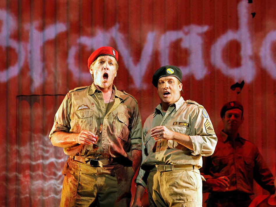 Thomas Hampson (left) stars as Rick Rescorla in the opera <em>Heart of A Soldier</em>, by Christopher Theofanidis, which receives its world premiere Sept. 10 at the San Francisco Opera.