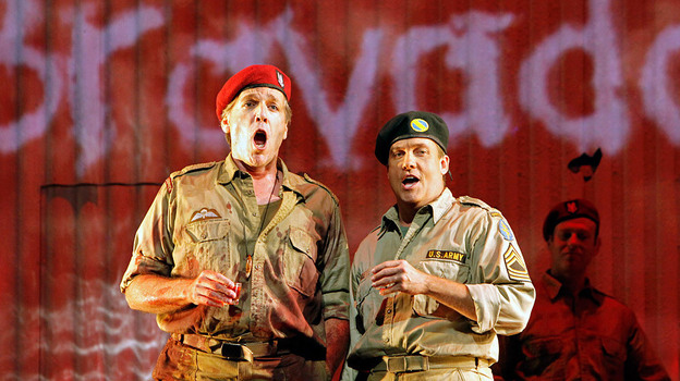 Thomas Hampson (left) stars as Rick Rescorla in the opera Heart of A Soldier, by Christopher Theofanidis, which receives its world premiere Sept. 10 at the San Francisco Opera. (San Francisco Opera)