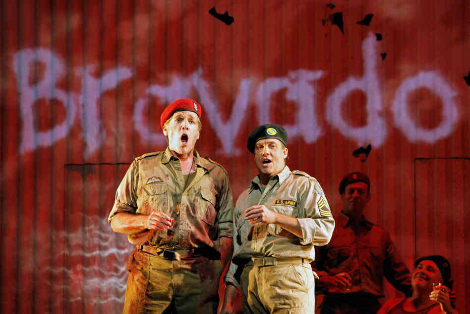 "Thomas Hampson (left) as Rick Rescorla and William Burden as his war buddy Dan Hill, in ""Heart of a Soldier"" premiering Sept. 10 at the San Francisco Opera."