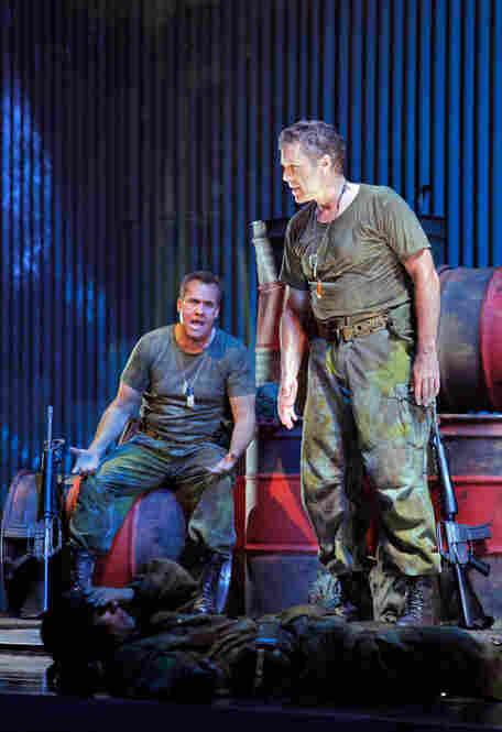 Thomas Hampson, right, as Rick Rescorla, with William Burden as his friend, Dan Hill.