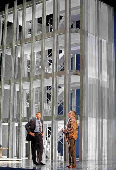 Rick Rescorla (Thomas Hampson, left) discusses terrorism with Dan Hill (William Burden) at the World Trade Center.