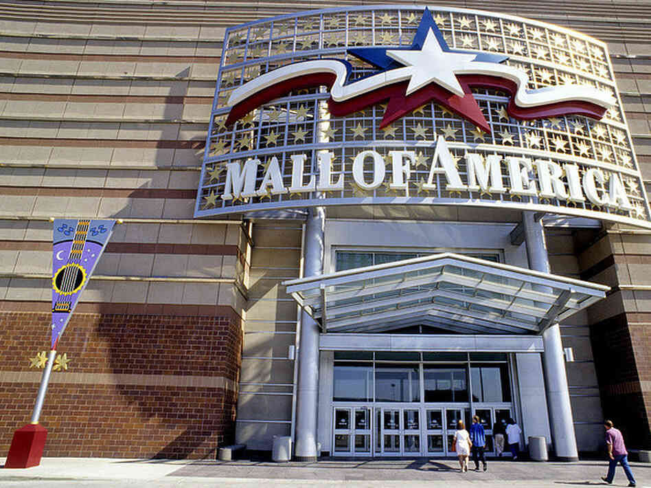 An entrance to the Mall of America in Minnesota, housing over 400 stores and employing nearly 12,000 people. An NPR report details the mall's private counter-terrorism security unit.