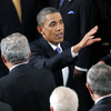 President Obama mingled with guests and lawmakers after his speech to a joint session of Congress on Thursday at the Capitol.