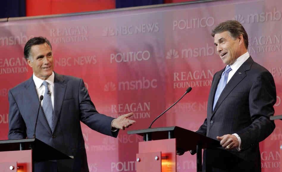 Mitt Romney and Texas Gov. Rick Perry at the Republican presidential candidates' debate at the Reagan Library, Sept. 7, 2011.