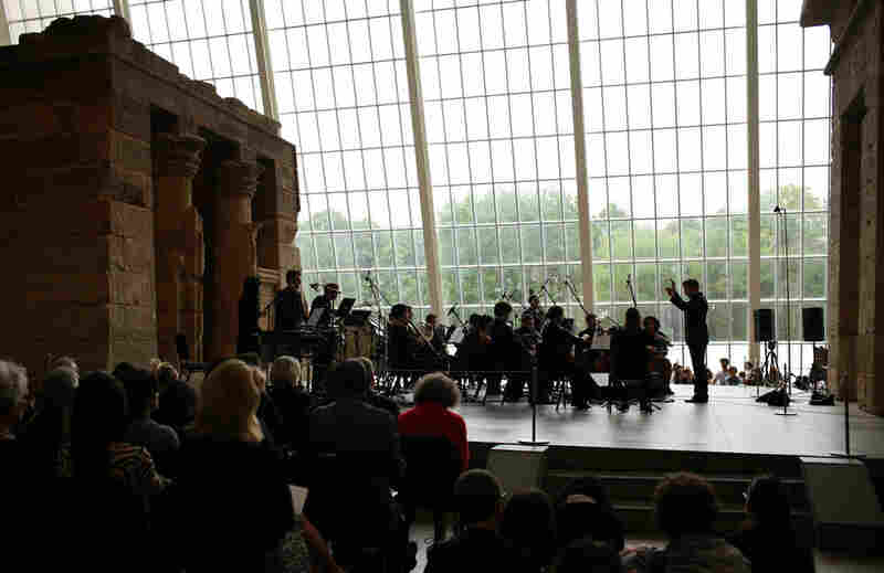 Ryan McAdams conducts the Wordless Music Orchestra at the Remembering September 11 concert at The Temple of Dendur in The Sackler Wing at The Metropolitan Museum of Art in Manhattan, NY on September 11, 2011.