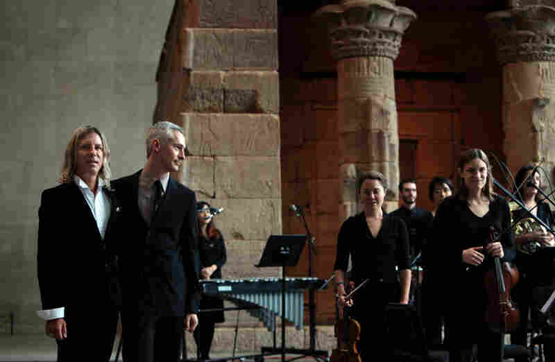 "Composer William Basinski (left) with Maxim Moston, who orchestrated Basinski's ""Disintegration Loops, dlp 1.1."" It recieved its world premiere at Remembering September 11, a concert by the Wordless Music Orchestra conducted by Ryan McAdams presented at The Temple of Dendur in The Sackler Wing at The Metropolitan Museum of Art in Manhattan, NY on September 11, 2011."