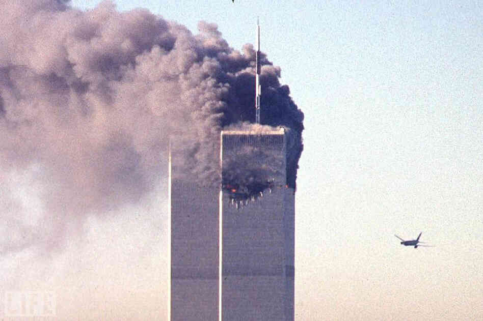 "United Airlines Flight 175, today universally known as ""the second plane,"" seconds away from the World Trade Center's South Tower, at 9:03 a.m. EST, Sept. 11, 2011. The first plane, American Airlines Flight 11 — slated to fly from Boston to Los Angeles — had slammed into the North Tower 17 minutes before, at 8:46 a.m."