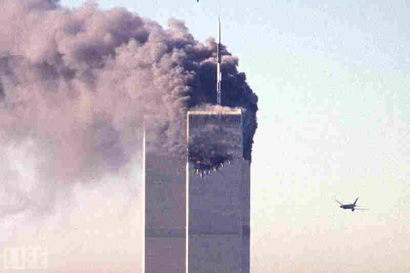"""United Airlines Flight 175, today universally known as """"the second plane,"""" seconds away from the World Trade Center's South Tower, at 9:03 a.m. EST, Sept. 11, 2011. The first plane, American Airlines Flight 11 — slated to fly from Boston to Los Angeles — had slammed into the North Tower 17 minutes before, at 8:46 a.m."""