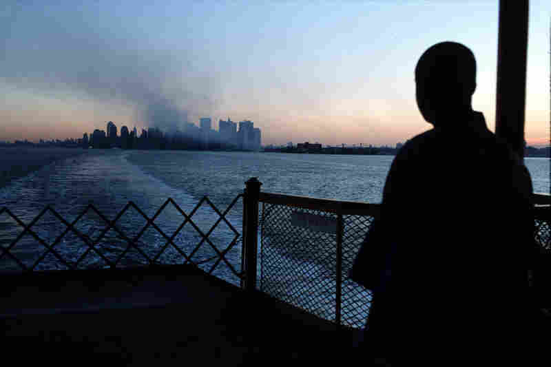 A view of Manhattan from the Staten Island ferry after the terrorist attack on the World Trade Center. September 2001.