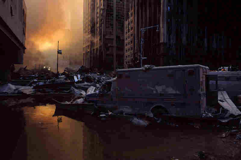Streets of Lower Manhattan are filled with wreckage from the collapse of the World Trade Center.