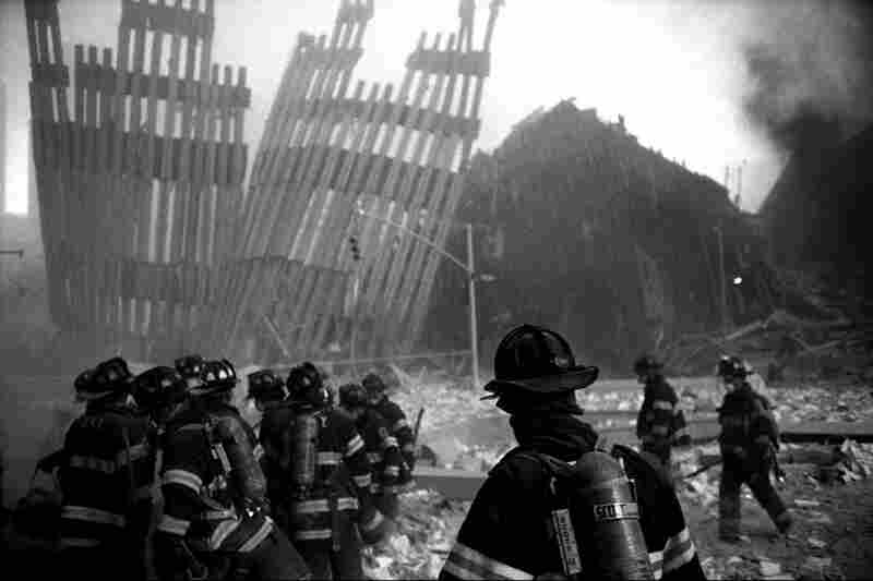 Firemen enter ground zero shortly after the collapse of the World Trade Center towers.