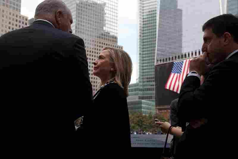 Secretary of State Hillary Rodham Clinton visits the 9/11 Memorial.