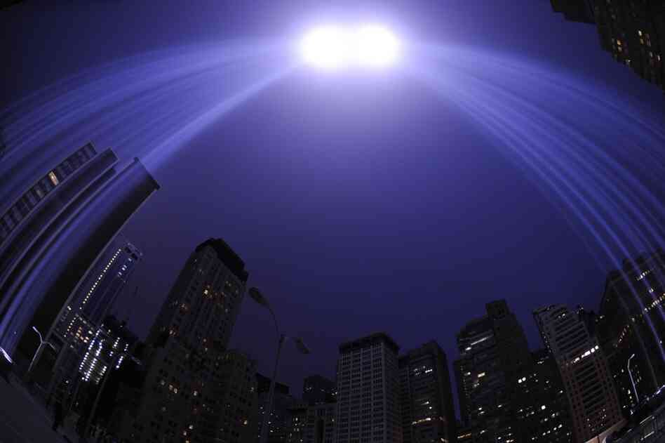 "The ""Tribute in Light"" illuminates the sky in New York on the 10th anniversary of the 9/11 attacks."