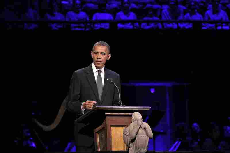 "President Obama speaks at ""A Concert for Hope"" at the Kennedy Center in Washington, D.C. on Sunday."