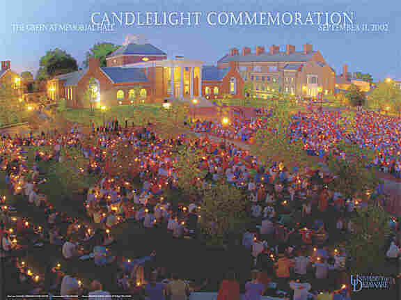 Commemorative poster from the University's candlelight vigil on Sept. 11, 2002.