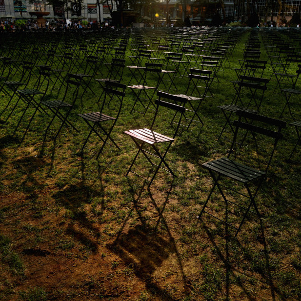 2,753 empty chairs on the lawn of New York's Bryant Park -- one for each person killed by terrorists at the World Trade Center.