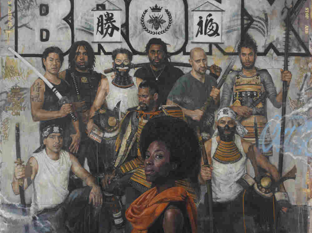 """Tim Okamura's painting """"The Royal Guard"""" is a part of his new exhibit """"Brooklyn Bronx Queens."""""""