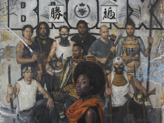"Tim Okamura's painting ""The Royal Guard"" is a part of his new exhibit ""Brooklyn Bronx Queens."""