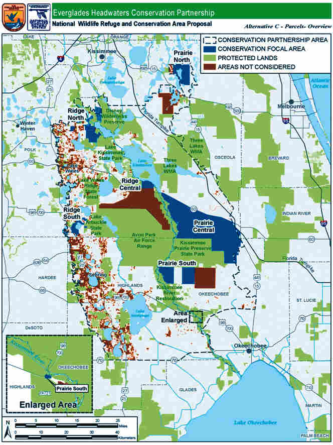 This map provided by the U.S. Fish and Wildlife Service shows the proposed area of the Everglades Headwaters National Wildlife Refuge in Kissimmee, Fla.