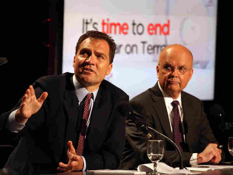 "Richard Falkenrath (left) and Michael Hayden argue against the motion ""It's Time to End the War on Terror"" in the latest Intelligence Squared U.S. debate."
