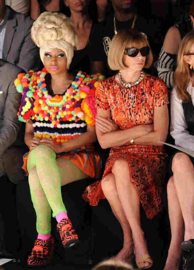 Rapper Nicki Minaj (L) and Editor-in-chief of American Vogue Anna Wintour attend the Carolina Herrera Spring 2012 fashion show during Mercedes-Benz Fashion Week.